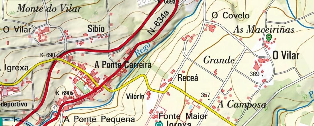 Mapa com varios Vilar em Frades